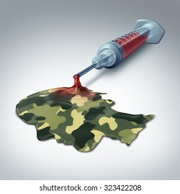 Military health care concept and veteran medical care metaphor as a syringe with blood emerging out as liquid with a soldier camouflage pattern shaped as a human head as a war hero medicine icon..