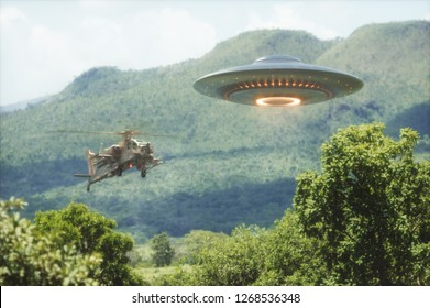 Military helicopter intercepting an unidentified flying object. Concept image of non-pacific invasion of beings from other planets. 3D illustration.
