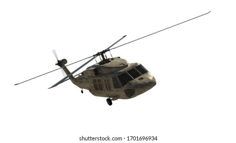 Military helicopter isolated on white. Render 3d. Illustration.