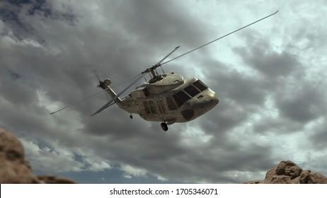 Military helicopter. Render 3d. Illustration.