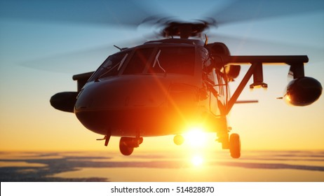 Military helicopter UH-60 Black hawk, wonderfull sunset. 3d rendering.