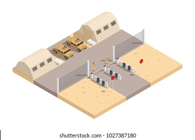 Military isometric composition with guarded military base and with the necessary equipment  illustration