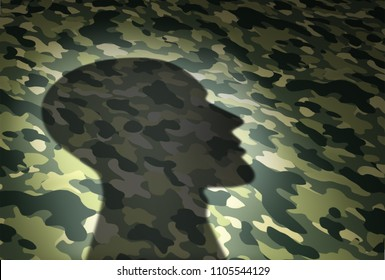 Military issues concept and veterans affairs or the VA security symbol as the shadow of a soldier on a camouflage texture in a 3D illustration style.