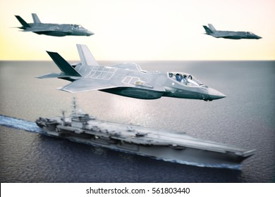 Military Jet strike force squadron of F35's flying overhead in formation with a naval carrier in the distance. Depth of field and motion blur applied . 3d rendering