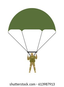 Military parachutists . Paratrooper descending by parachute flat illustration isolated on white background. Airborne forces soldier. For military concepts, infographics, icons design