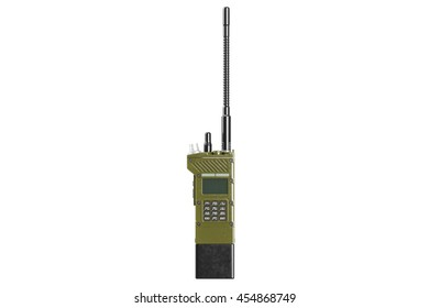 Military radio portable equipment, front view. 3D graphic