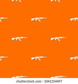 Military rifle pattern repeat seamless in orange color for any design. geometric illustration