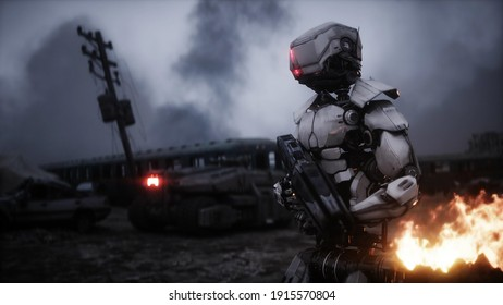 Military robot in a burning ruined apocalyptic city. Armageddon view. Realistic fire simulation. Postapocalyptic. 3d rendering