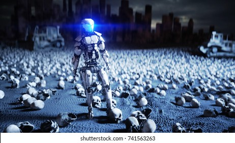 military robot and skulls of people. Dramatic apocalypse super realistic concept. Rise of the Machines. Dark future. 3d rendering.