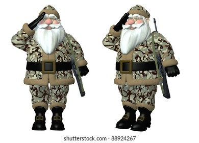 Military Santa Saluting Santa wearing forest green camouflage battle dress uniform and carrying an M-16 rifle. Isolated on a white background.