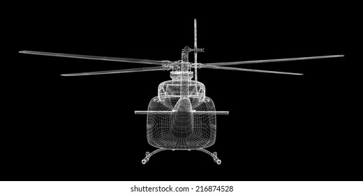 Military Sealift helicopter,  body structure , wire model