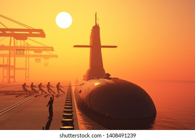 The military ship in port..3d render