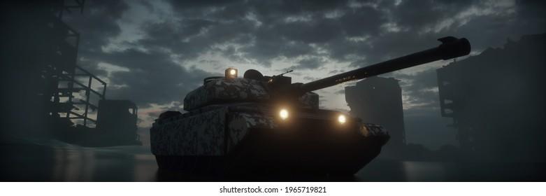 Military silhouettes three tanks on war fog sky background. Tanks battle. War Concept. 3d illustration.