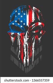 Military Skull Badge Patriotic