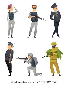 Military soldiers with various weapons. characters with gun, woman warrior illustration