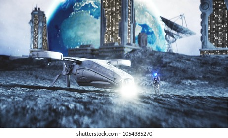 Military space ship fly on moon. Moon colony. Earth backround. 3d rendering.