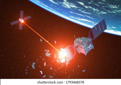 Militärisches Raumschiff schießt einen feindlichen Satelliten mit einem Laserstrahl herunter. 3D-Illustration.