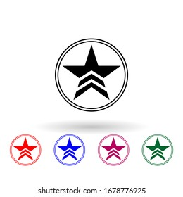 A military star in a circle multi color icon. Simple glyph, flat illustration of communism capitalism icons for ui and ux, website or mobile application