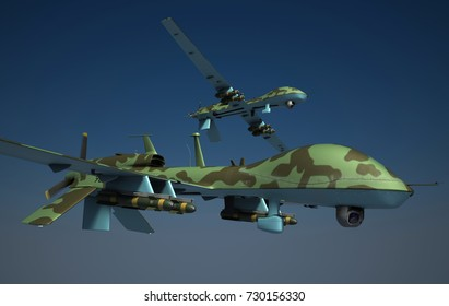 Military surveillance drones armed with hellfire missiles. Green camouflage. 3d render.