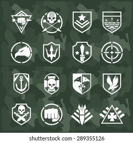 Military symbol icons set. Fist and sword, eagle and skull, cross arrow, rocket and anchor