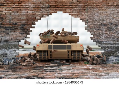 Military Tank Breaks through the Old Grunge Dirty Brick Wall. 3D Rendering