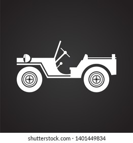 Military vehicle icon on background for graphic and web design. Simple illustration. Internet concept symbol for website button or mobile app