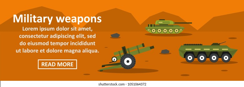 Military weapons banner horizontal concept. Flat illustration of military weapons banner horizontal concept for web