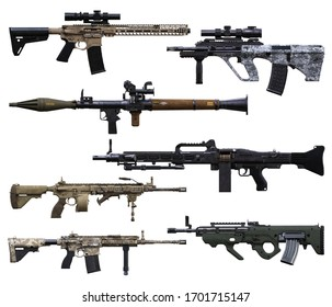 Military weapons booster pack. Various automatic assault rifles, belt feed machine gun's and RPG on an isolated white background. 3d rendering