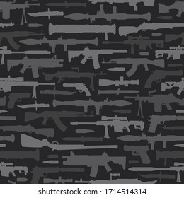 Military weapons seamless pattern with guns rocket launchers pistols knives bullets silhouettes in vintage style illustration