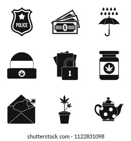 Militia icons set. Simple set of 9 militia icons for web isolated on white background