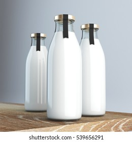 Milk bottle with label 3d rendering