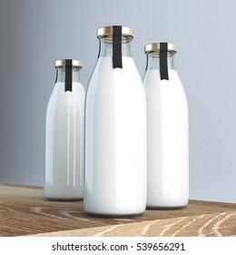 Milk bottle with label 3d rendering
