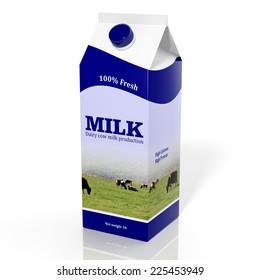 Milk carton box isolated on white. 3d illustration