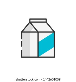 Milk carton packet outline color icon