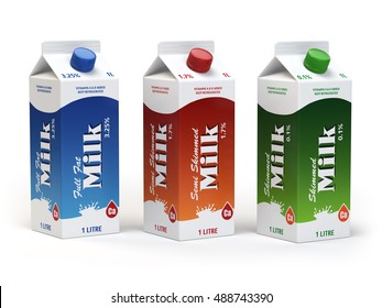 Milk carton packs isolated on white. Milk boxes. 3d illustration