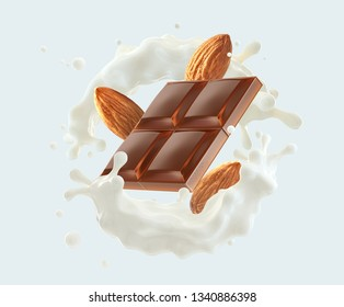 Milk chocolate bar piece, fresh milk or cream swirl splash twisted and almonds. Liquid milk chocolate and fresh almond milk cream splash template. Milkshake ingredients. Clipping path. 3D render