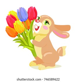 Milk chocolate bunny with luxury bouquet of tulips isolated on white background.  illustration of sweet gifts, greeting card with holiday mascot. Festive emblem of hare animal in cartoon style