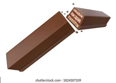 Milk Chocolate Coated Wafer with Filling. Clipping path. Isolated on white background. 3d illustration.