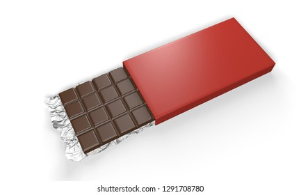 milk chocolate with cover box 3d rendering