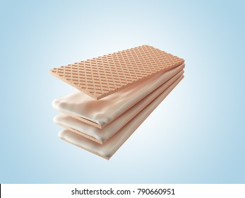 Milk cream or Vanilla wafer flavor, with Clipping path 3d illustration.