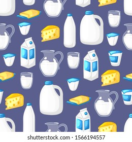 Milk and dairy products. Seamless pattern.