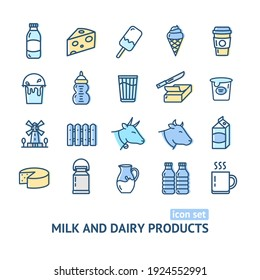Milk Dairy Products Signs Color Thin Line Icon Set Include of Yogurt and Ice Cream. illustration of Icons