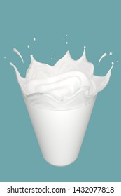 Milk drop pouring on glass , 3D illustration