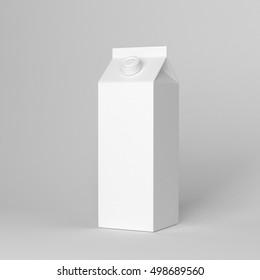 Milk Juice Carton Packaging Package Box White Blank 3d rendering