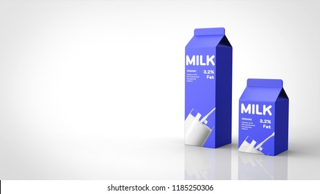 milk large and small right 3d rendering