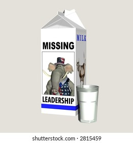Milk - Missing Republican Leadership. Republican represented by an elephant on a milk carton. Political humor. Isolated on a solid background.