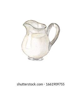 Milk pitcher Watercolor, Latte art Material