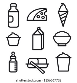 milk products icon set