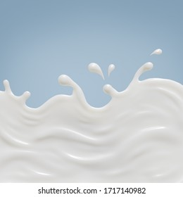 Milk splash on floor smooth abstract shapes , isolated on Blue background , 3d illustration 3D Rendering