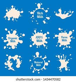 Milk splashes labels. Farm fresh dairy product advertising badges. Milk farm drink, splash label for package illustration